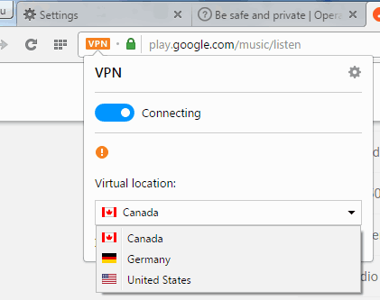 vpn pop up to change server and disable vpn
