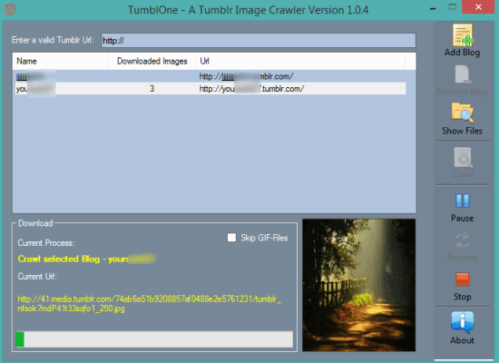 TumblOne- interface
