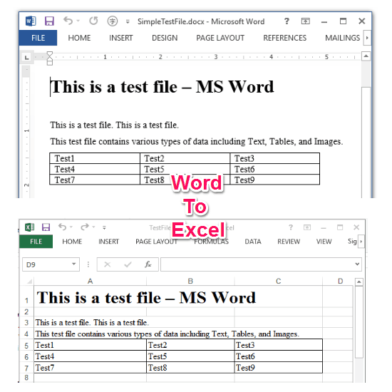Word to Excel Main