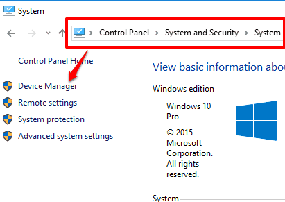 access Device Manager using Settings window