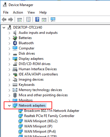 access Network adapters in Device Manager