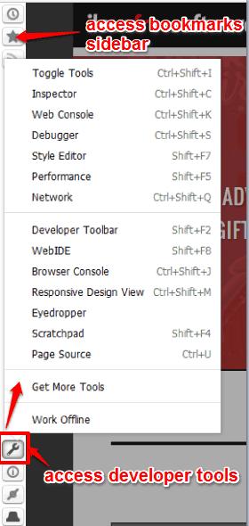 access bookmarks sidebar, developer tools