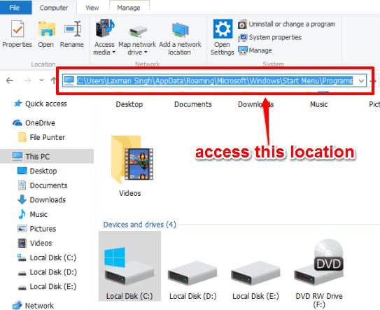 access the programs folder