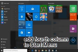 add fourth column to Windows 10 Start Menu