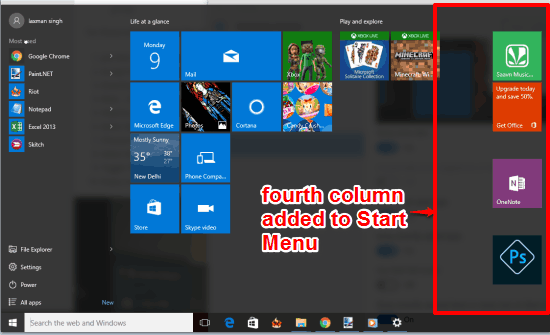 add one more column to Windows 10 Start Menu