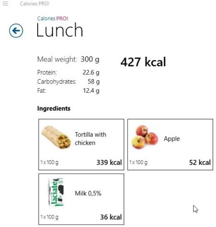 calories pro add a product lunch