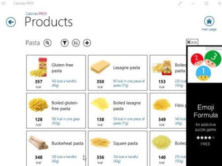 calories pro category