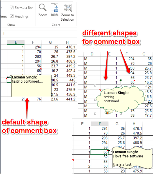 default and custom shapes of comment box