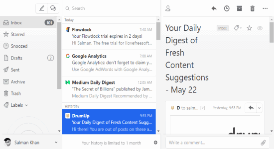 email interface