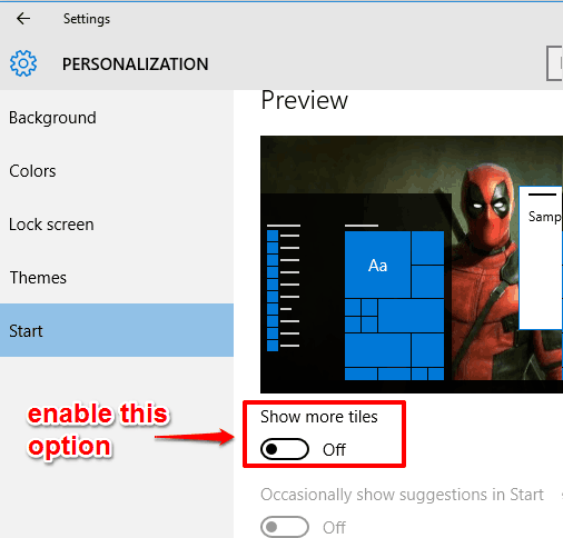 enable show more tiles option