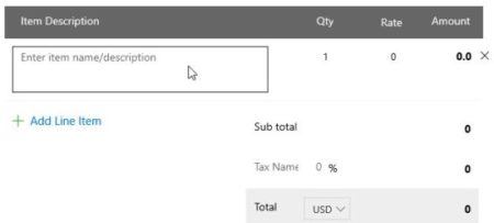 free invoice generator zoho adding items