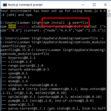 install peerflix using Node.js command prompt window