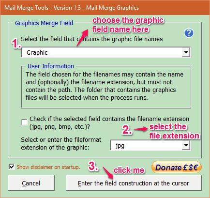mail merge graphics window