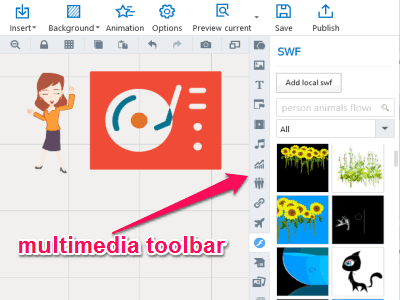 Free Presentation Maker, Insert SWF, Charts, Figures, Videos