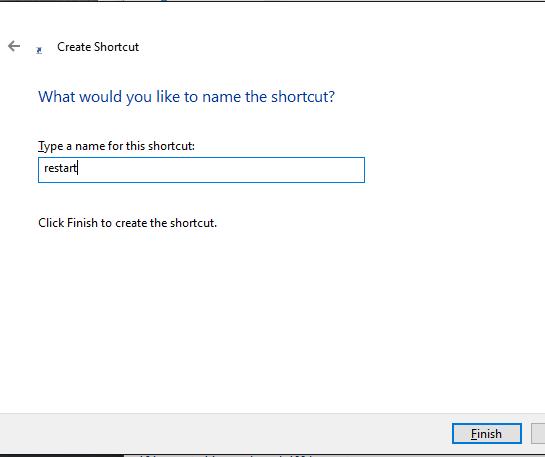 name your shortcut restart