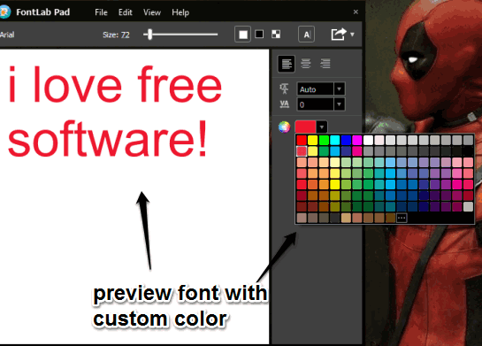 preview font with custom color