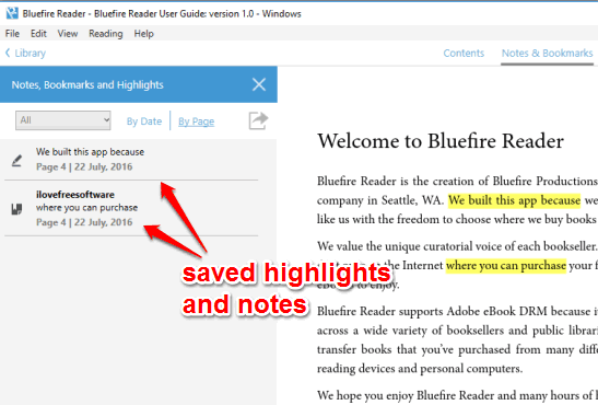 saved highlights and notes
