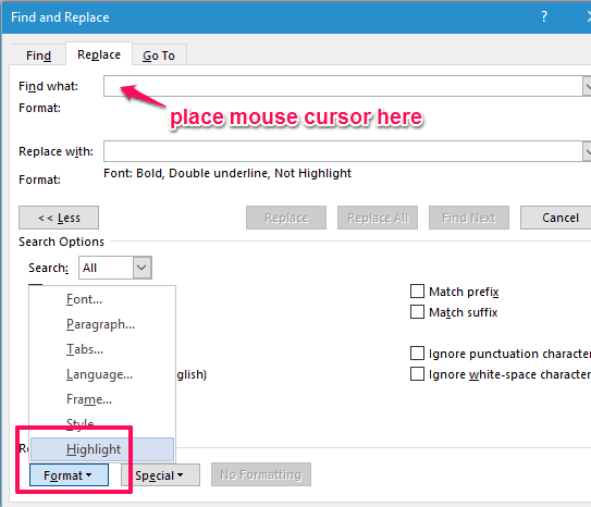 select Highlight for find what box
