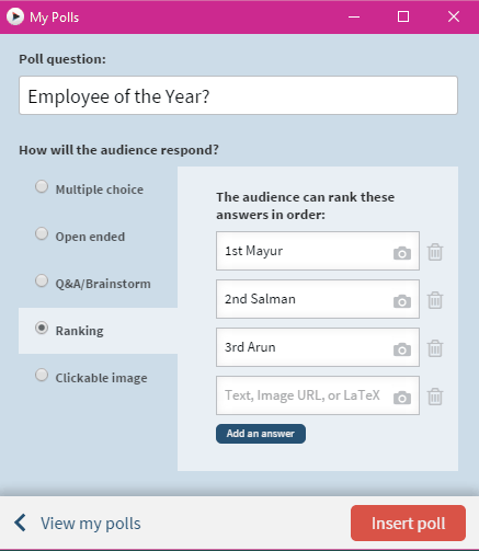 select question type for poll