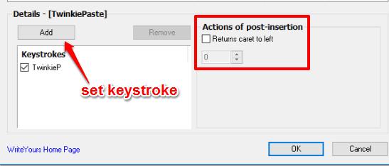 set keystorke and post insertion action
