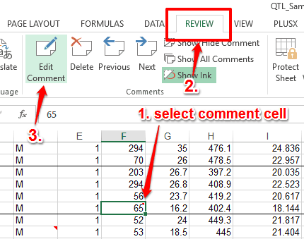 use edit comment option in review tab