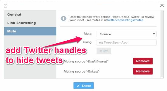 add handle to hide tweets