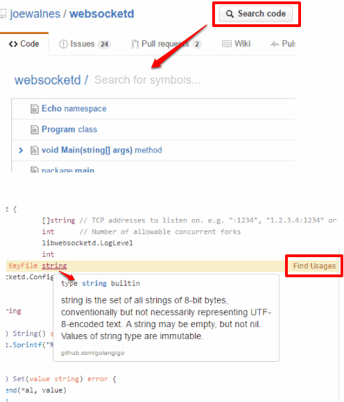 browse github codes like ide