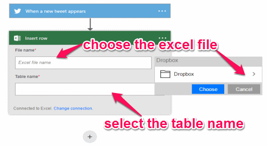 choose the excel file