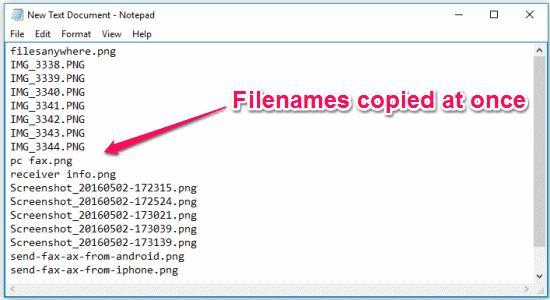 copied filenames
