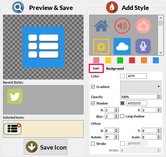 icon tab highlighted