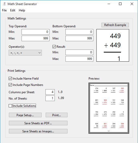 4 Math Worksheet Generator Software For Windows 10