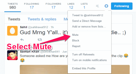 mute option