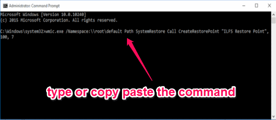 paste the command