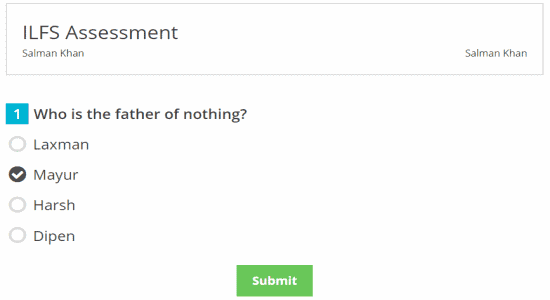 student answer