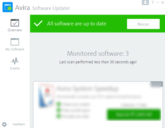 Avira Software Updater- interface