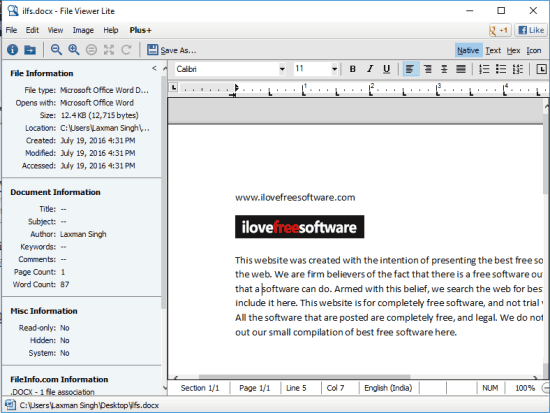 File Viewer Lite- interface