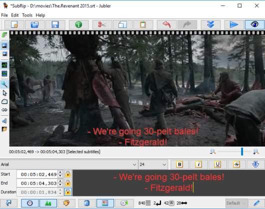Jubler Subtitle Editor- interface