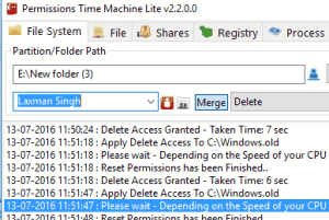 Permissions Time Machine Lite- interface