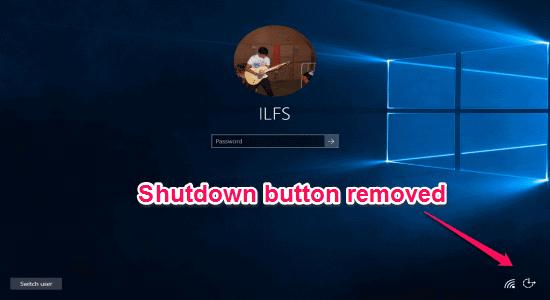 Shutdown button removed