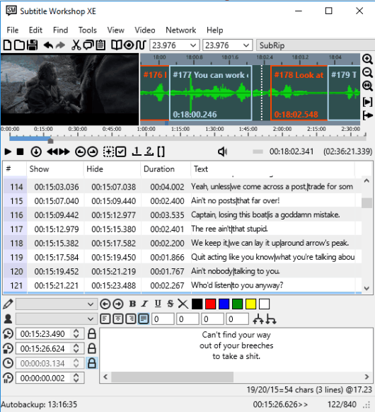 Subtitle Workshop XE- interface