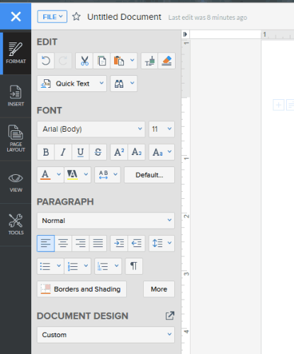 Toolbar at the left sidebar