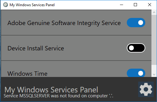 Windows services added to panel