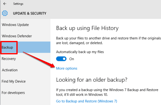 access More options in backup