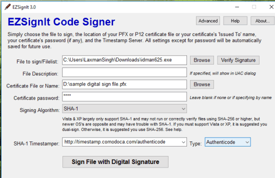 add details to sign an executable file
