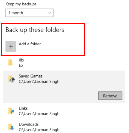 add important folders for backup