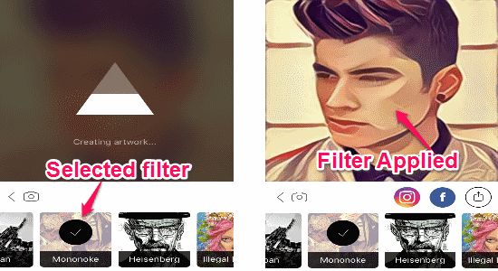 applied filters