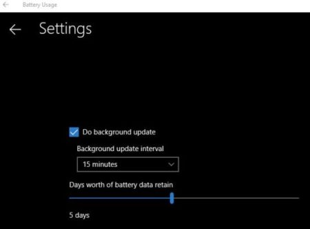 battery usage settings