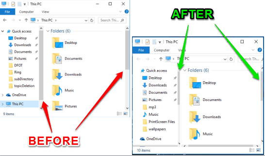 before and after comparison of scrollbars