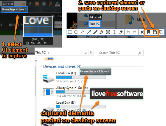capture ui elements and paste on desktop screen or save