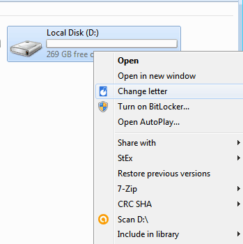 change letter option visible in context menu